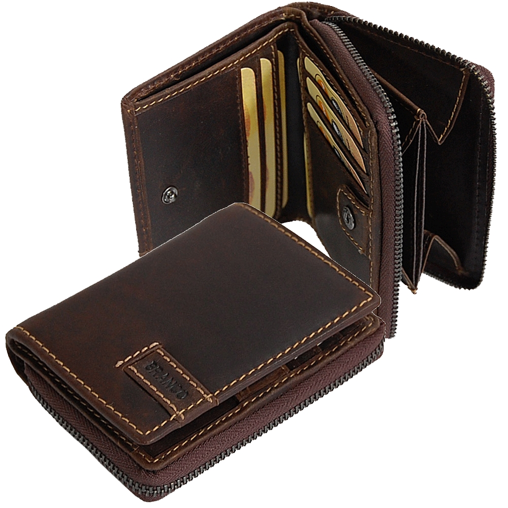 feb18ca940a30 Reißverschluss Geldbörse Leder Portemonnaie Geldbeutel Börse 15595